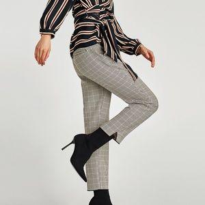 NWT Zara Basic Checked Trousers